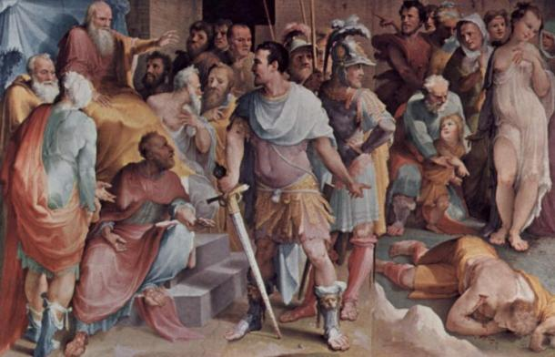Ahala, master of the horse, presents the dead Maelius to Cincinnatus, fresco by Beccafumi at the Palazzo Pubblico in Siena.