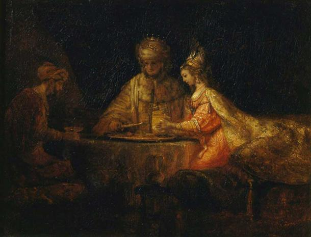 Ahasuerus and Haman at the Feast of Esther (1660) Rembrandt.