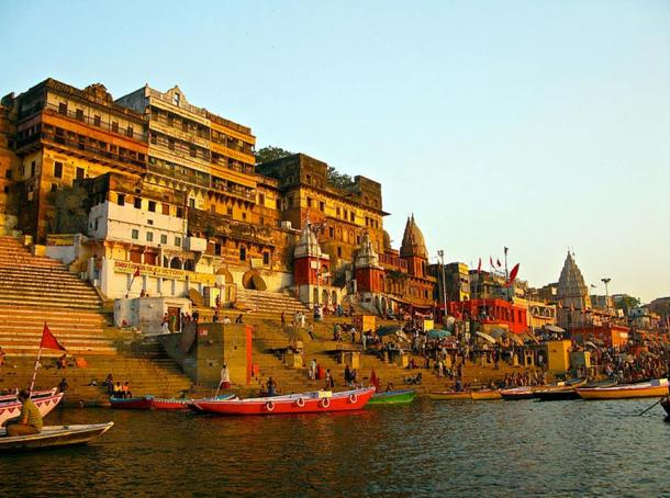 Ahilya Ghat by the Ganges in Varanasi, India.