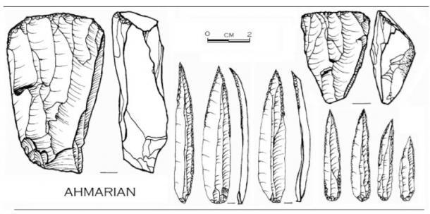 Illustration of Ahmarian culture stone tools