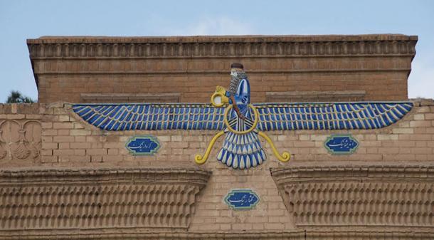 Ahura Mazda relief on Ataskhadah Zoroastrian fire temple in Yazd, Iran.
