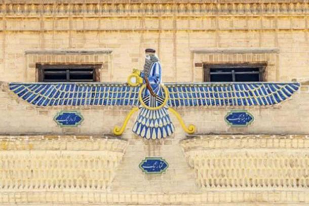 Ahura Mazda on the roof of the Museum of Zoroastrian History in Yazd, Iran. (Alexeiy /Adobe Stock)