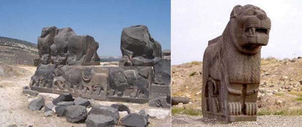Ain Dara, an Iron Age Syro-Hittite temple, located northwest of Aleppo, Syria. (CC BY 2.0). Bassalt lion statue — Ain Dara, Syria. (