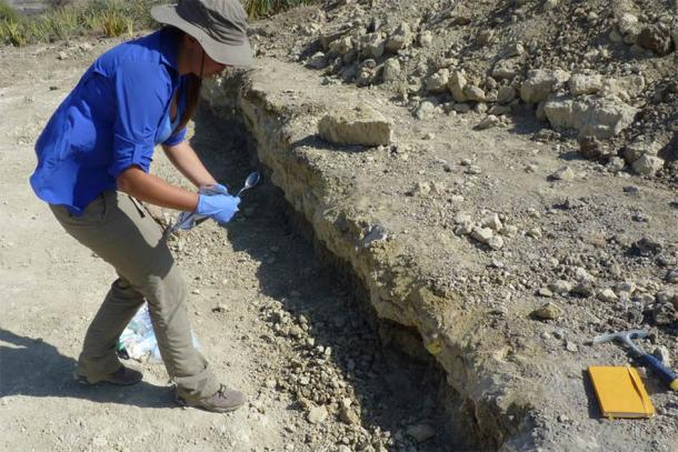 Ainara Sistiaga took samples of sediment at Olduvai Gorge, in northern Tanzania, where fossils of early humans from 1.8 million years ago have been unearthed. (Ainara Sistiaga / MIT)