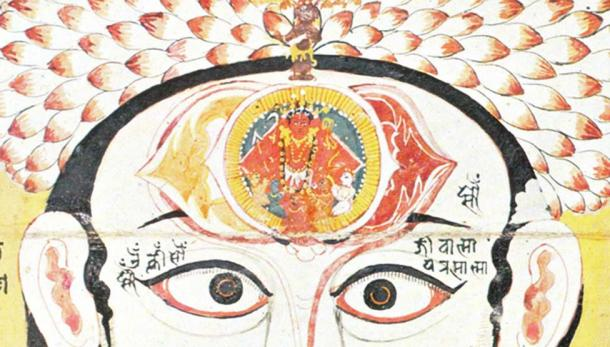 "The Ajna chakra is located in the brain, directly behind the eyebrow center. Its activation site is at the eyebrow region, in the position of the ""third eye."""