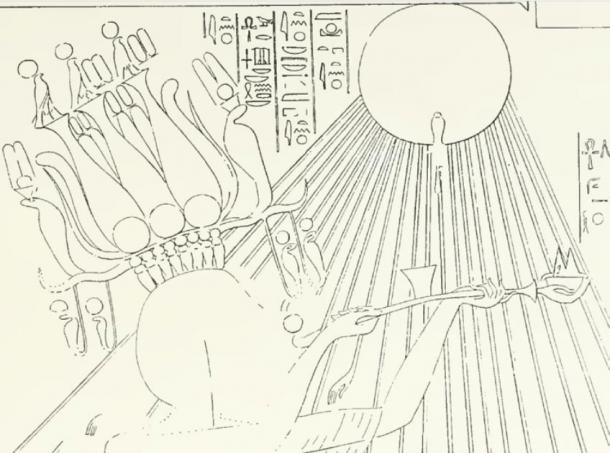 Akhenaten wears the hemhem crown with shofar-like horns and sun discs, under the rays of the Aten sun disc, joyously offering incense and food alongside his wife, Nefertiti (from the tomb of Panehesy – Davies, N. de G., The Rock Tombs of El Amarna: Part II – The Tombs of Panehesy and Meryra II). (Davies, N. de G., The Rock Tombs of El Amarna: Parts I - VI. (London, Egypt Exploration Fund, 1908; 6 volumes originally, Part V and VI being reprinted by the Egypt Exploration Society, 2004).