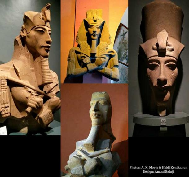 A selection of the remnants of Akhenaten's colossal statues that were deliberately smashed and knocked to the ground at Karnak, when the temples he had dedicated to the Aten were destroyed during the Amarna backlash. Luxor and Cairo Museums.