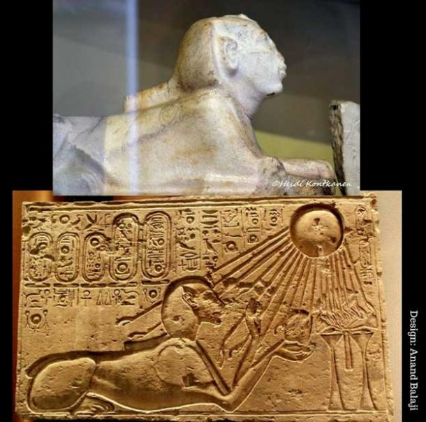 Although Akhenaten's religious reforms purged Egyptian art of many deities, the King remained fond of the sphinx, and often had himself depicted as that fantastic creature. In the Eighteenth Dynasty, the monument was reinterpreted as the sun god Horemakhet, or 'Horus in the Horizon'. (Top: Egyptian Museum, Cairo. Below: Hans Ollermann/CC BY 2.0. Museum August Kestner, Hanover, Germany.)