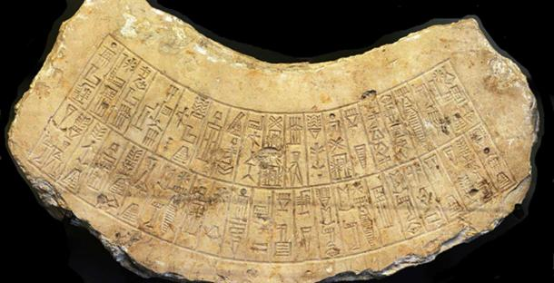 Akkadian inscription found at the city of Marad in Iraq, ca. 2260 BCE