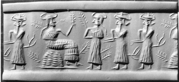 In this Akkadian seal, a seated vegetation goddess is greeted by three other deities. Stalks of grain sprout from the females, while tree branches grow from the males, perhaps referring to a specific myth. (Public Domain)