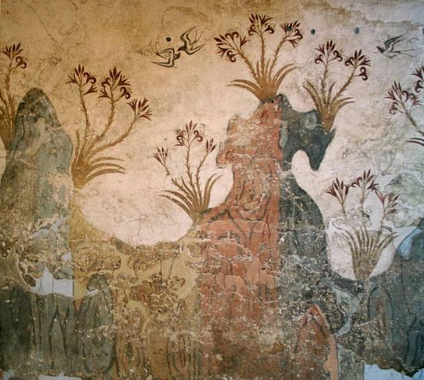 'Spring flowers and swallows' detailed in a delicate Akrotiri fresco.