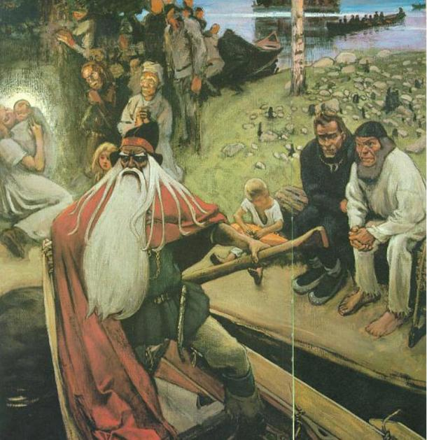 Akseli Gallen-Kallela: The Departure of Väinämöinen (Wainamoinen) succeeds in stopping the tragedies the children of Loviatar will bring. Hämeenlinna Art Museum 1896-1906.