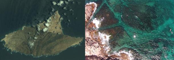 Al Hallanyiah Island and an aerial photo of wreck site.