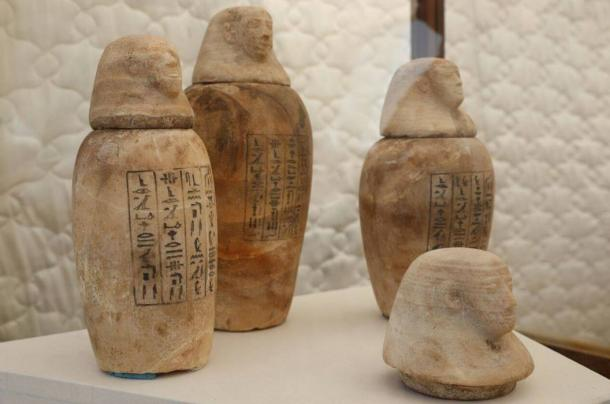 Alabaster Vessels unearthed in the newly-discovered burial shaft.