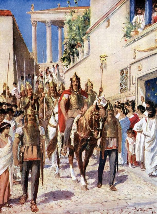'Alaric enters Athens in 395' by A. Stewart, 1915