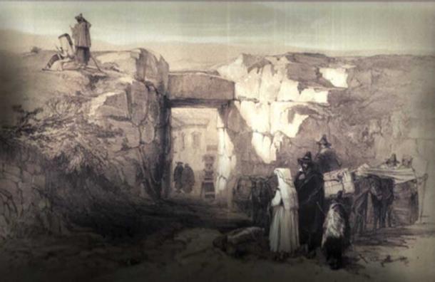 Alatri, inside of Porta Maggiore (Acropolis) by Edward Lear (1841) (Public Domain)