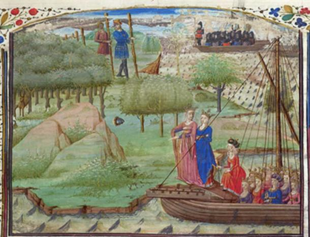 Albina and other daughters of Diodicias (front). Two giants of Albion are in the background, encountered by a ship carrying Brutus and his men. French Prose Brut, British Library Royal 19 C IX, 1450-1475 (Public Domain)