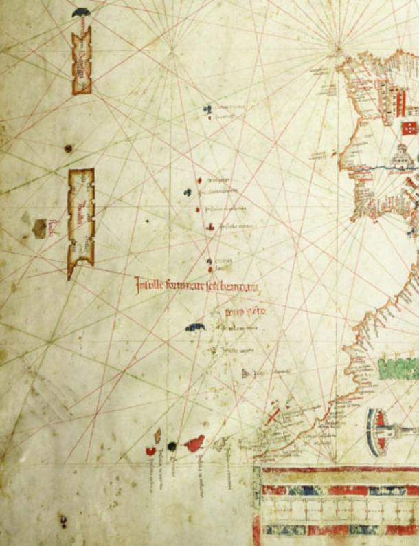 Albino de Canepa's 1489 map of areas west of Portugal showing several phantom islands.