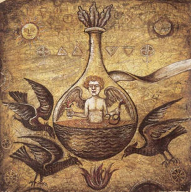 Alchemical illustration of a Homunculus in a vial