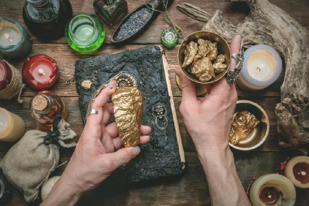 Alchemist turning lead into gold. (Dmitriy / Adobe Stock)