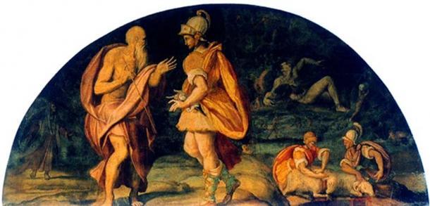 Alessandro Allori (1580) Odysseus questions the seer Tiresias.