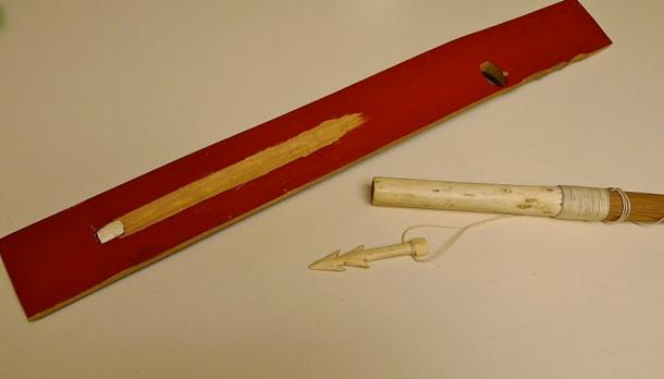 An Aleut atlatl from Nikolski, made in 1976.