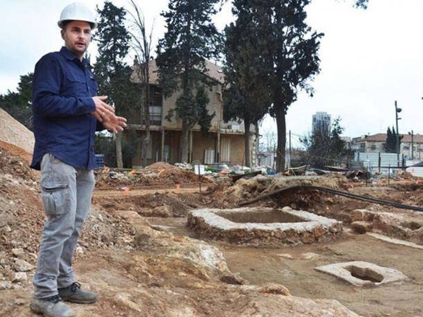 Alex Wiegmann, excavation director, at the winepress uncovered in the Schneller Compound, Jerusalem.