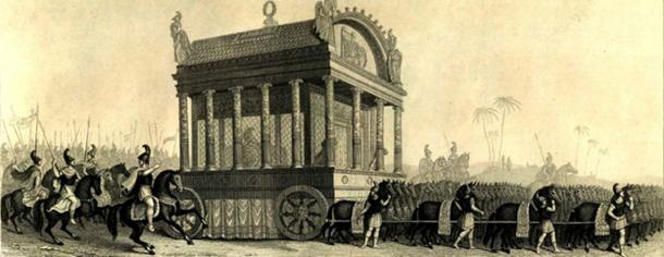 19th century depiction of Alexander's funeral procession based on the description of Diodorus.