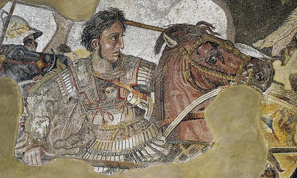 The detail of the Alexander Mosaic showing Alexander the Great.