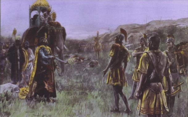 Alexander accepts the surrender of Porus by Andre Castaigne (1898-1899) (Public Domain)