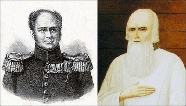 Alexander I (L), Monk Feodor. Picture: Vesti Tomsk