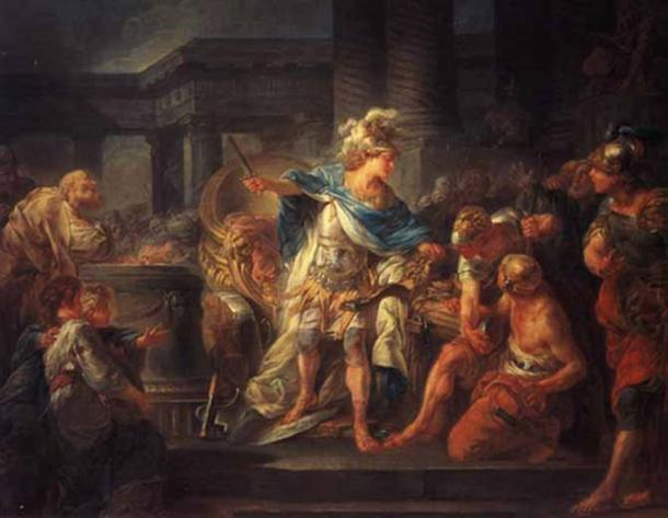 Alexander cuts the Gordian Knot by Jean Simon Berthélemy.