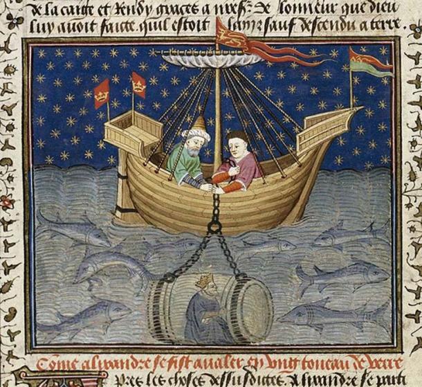 'Alexander explores the sea in a submarine.' (1444-1445)