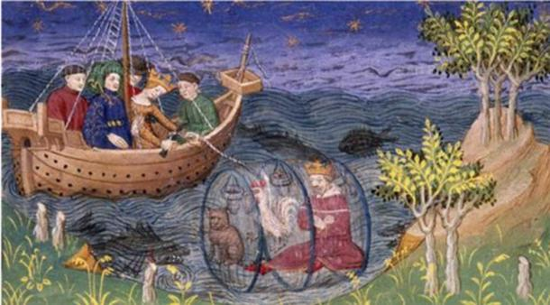 Alexander in his 'submarine'. British Library, Royal MS 15 E. vi f. 20v. (Author provided)