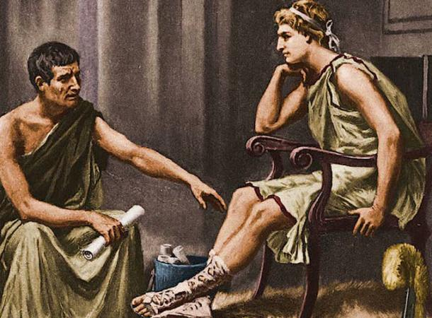 Alexander listens studiously to his tutor, the philosopher Aristotle