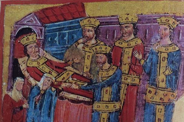 Alexander on his deathbed. Hellenic Institute codex 5 f. 193v (Alexander Romance recension gamma) (14th century).