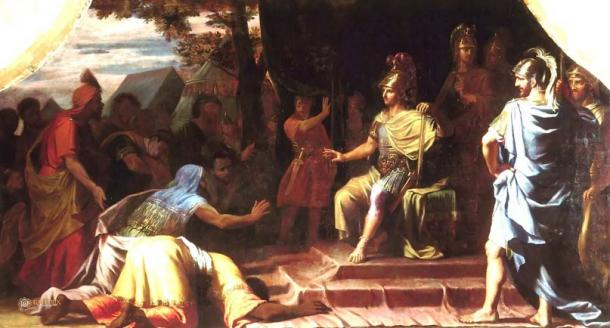 Alexander the Great receiving news of the death by immolation of the Indian Gymnosophist Calanus