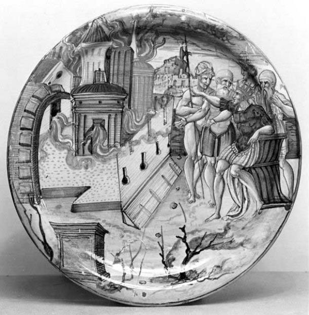 Alexander the Great ordering Persepolis to be set on fire, Italian plate, 1534 (it may be a depiction of the burning of Rome witnessed by Nero).
