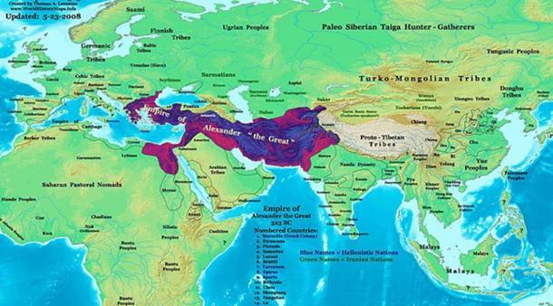Alexander's empire at his death in 323 BC. (CC BY-SA 3.0)