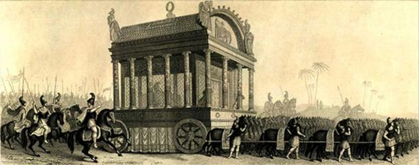 Alexander's funeral bier, pulled by 64 mules, on the way from Babylon to Damascus (Public Domain)