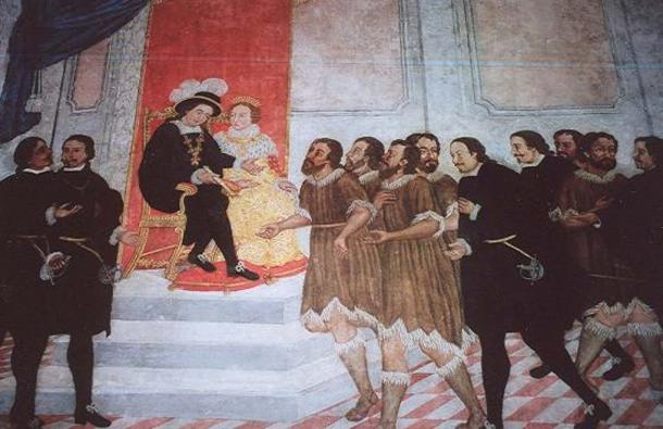 Alonso Fernández de Lugo presenting the captured Guanche kings of Tenerife to Ferdinand and Isabella.