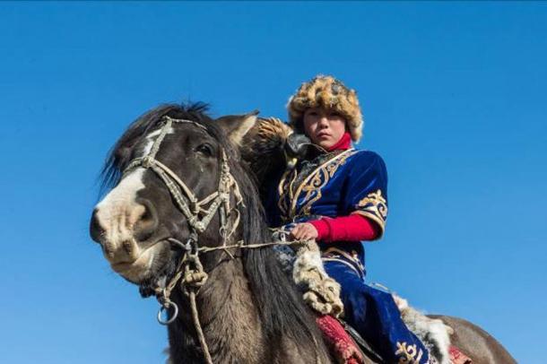 FIG 2.8. Amanbol at Eagle Festival, Ulgii, Mongolia, 2014.