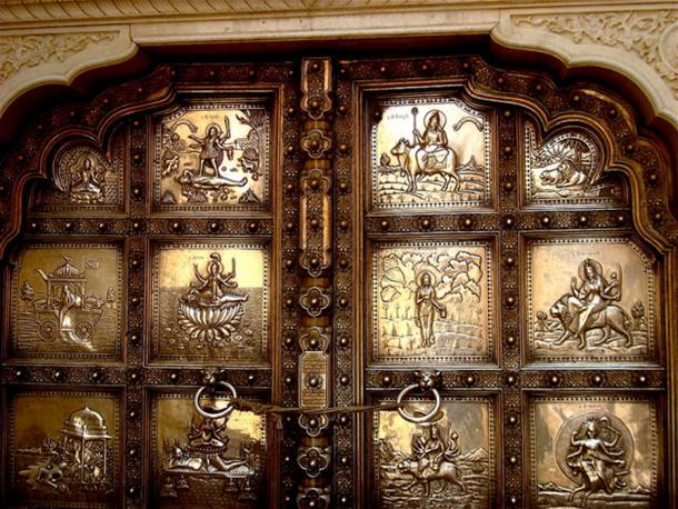 Amber Fort: Embossed double leaf silver door entry in to the Sila Devi temple.