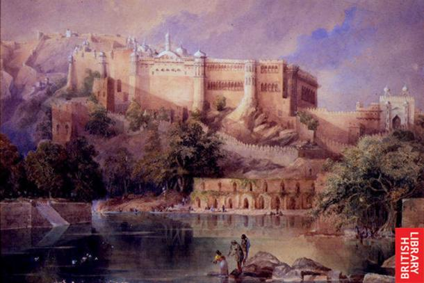 A view of the fort at Amber in Rajasthan; a watercolor by William Simpson, c.1860