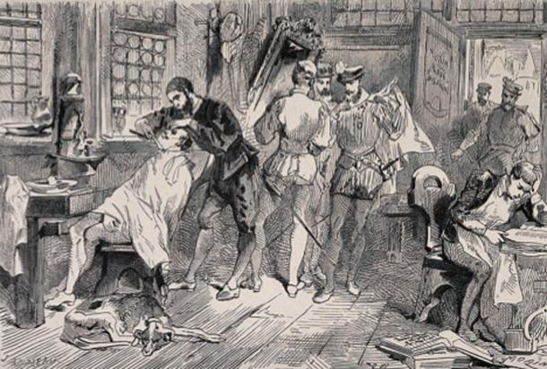 Ambroise Paré, as an apprentice barber-surgeon in a busy shop in Paris. Wood engraving by E. Morin after J. Ansseau. (Wellcome Images/CC BY 4.0)