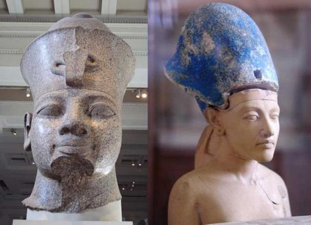Amenhotep III (CC BY SA 3.0) and Akhenaten (Jon Bodsworth). Most of the tablets have been dated to the reigns of these two pharaohs.