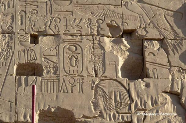 """'Amenhotep II was the paragon of the athletic kings of the early Eighteenth Dynasty and boasted of physically Homeric deeds' notes the Oriental Institute, Chicago. A wall relief in Karnak Temple shows the king before the gods. His prenomen """"Aakheperure"""" can be seen in a cartouche in front of him."""