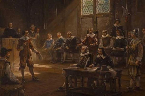 America's first General Assembly, with Yeardley presiding, seated in red. (Jamestown Rediscovery)