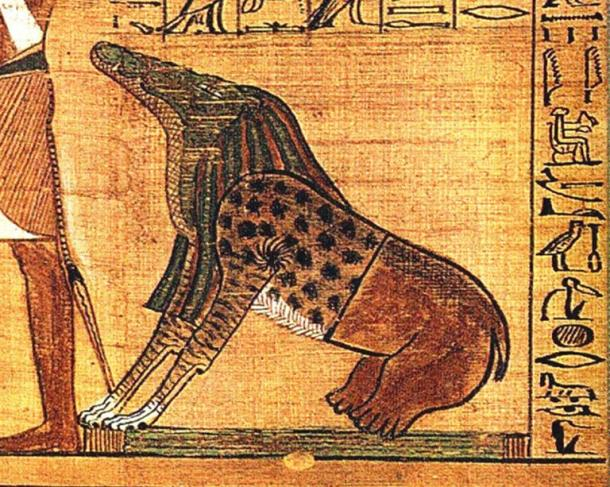 "Ammut, a female demon from ancient Egypt with a body that was part lion, hippopotamus and crocodile—the three largest ""man-eating"" animals known to ancient Egyptians. A funerary deity, her titles included ""Devourer of the Dead,"" and ""Eater of Hearts."""