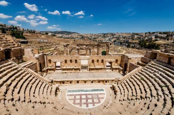 Amphitheater in the ancient Roman city, Jerash, Jordan. (sola_sola /Adobe Stock)